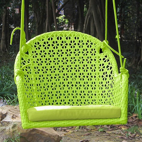 set-of-2-green-wicker-porch-chair-swings Wicker Swings and Wicker Porch Swings