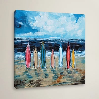 surf-boards-painting-print-on-wrapped-canvas Surf Decor & Surfboard Decorations