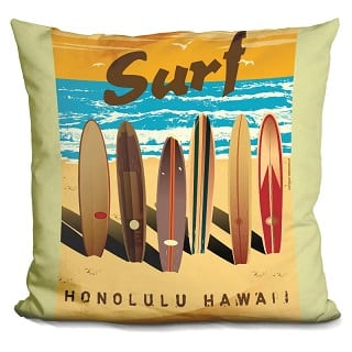 surf-honolulu-hawaii-throw-pillow Surf Decor & Surfboard Decorations