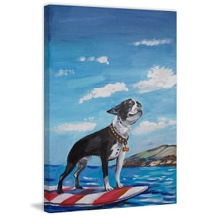 surfboard-frenchie-oil-painting Surf Decor & Surfboard Decorations
