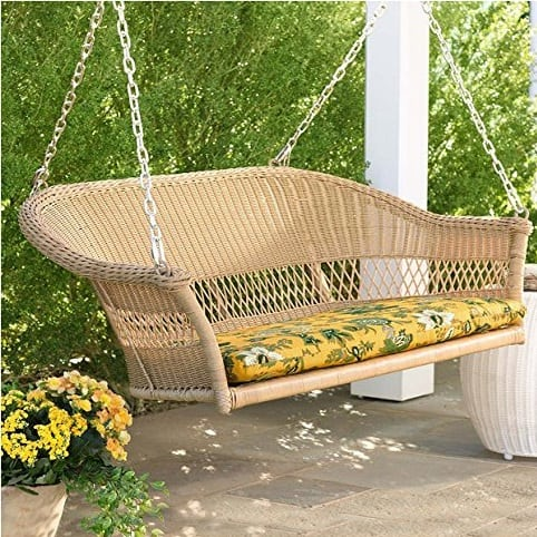 tan-resin-wicker-porch-swing Wicker Swings and Wicker Porch Swings