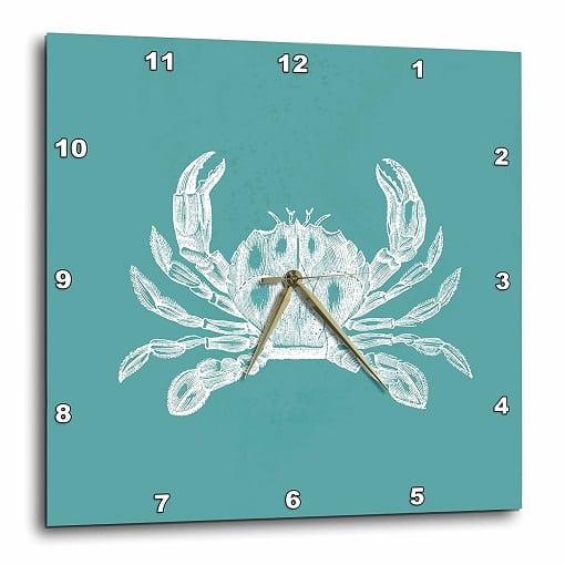teal-crab-wall-clock Crab Decor & Crab Decorations