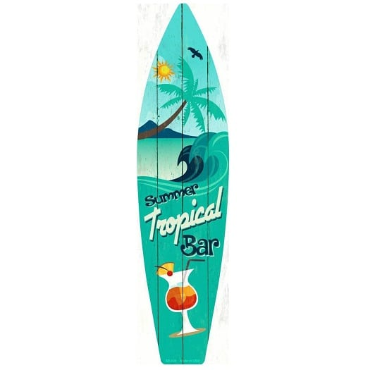 tropical-bar-metal-surf-board-sign Surf Decor & Surfboard Decorations