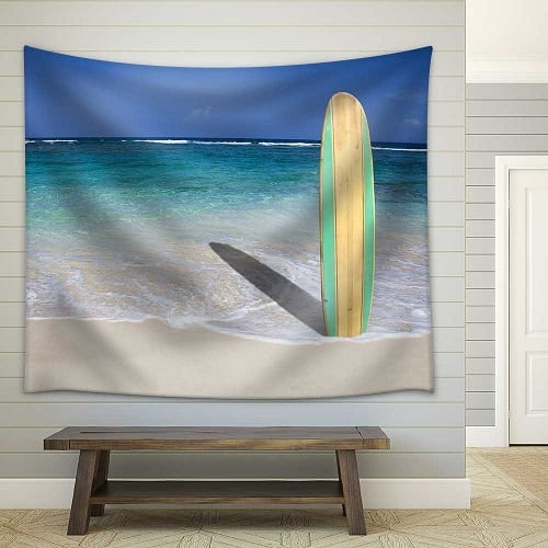 tropical-vintage-surfboard-wall-tapestry Surf Decor & Surfboard Decorations