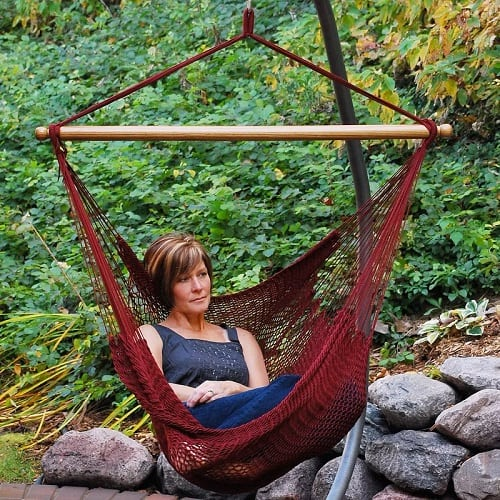 Mistana-Brenda-Burgundy-Rope-Hammock-Chair Best Rope Hammocks