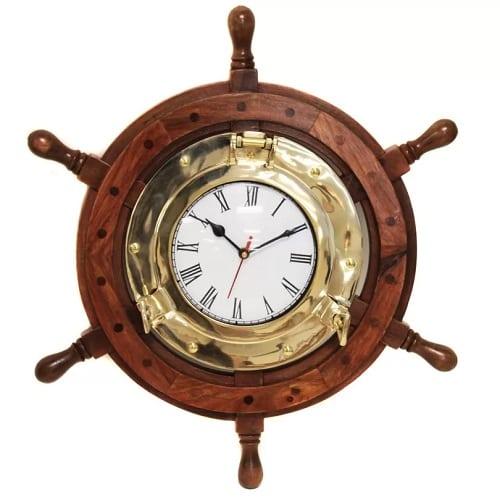 burdick-wood-round-nautical-ships-wheel-clock-18 Nautical Clocks