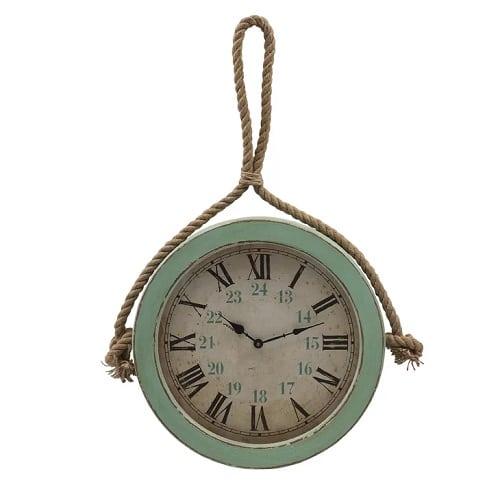 florus-coastal-rope-hanging-wall-clock-22 Nautical Clocks
