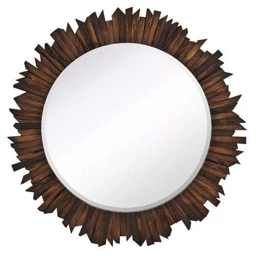 funky-natural-wood-sunburst-mirror Coastal Mirrors and Beach Themed Mirrors