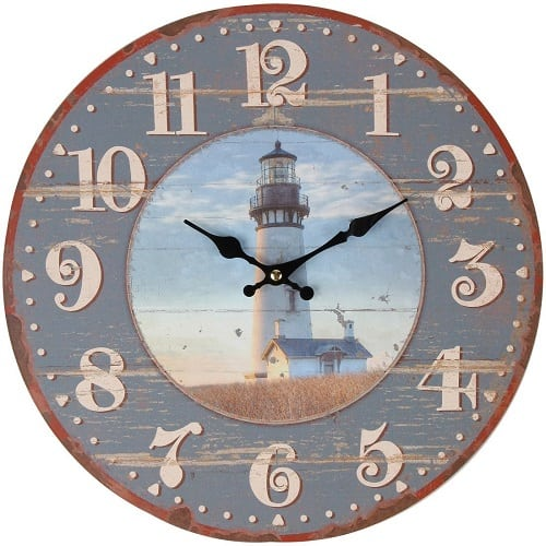 lilys-hom-rustic-wood-country-lighthouse-clock-13 Nautical Clocks