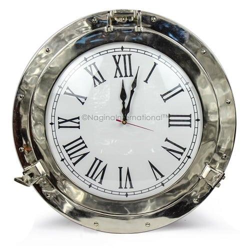 nautical-aluminum-polished-wall-clock-12 Nautical Clocks