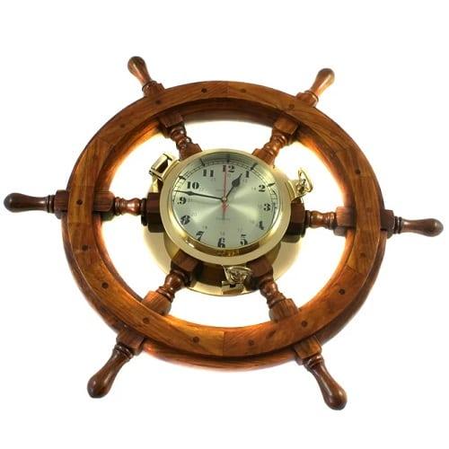 nautical-captains-ship-wheel-porthole-wall-clock-26 Nautical Clocks
