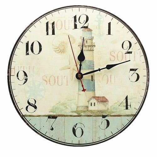 nautical-lighthouse-decor-wall-clock-13.5 Nautical Clocks