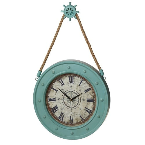 nautical-wall-clock-rope-hanger-ship-wheel-15.5 Nautical Clocks