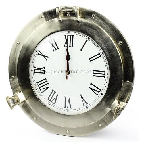 nickel-aluminum-porthole-clock-8 Nautical Clocks