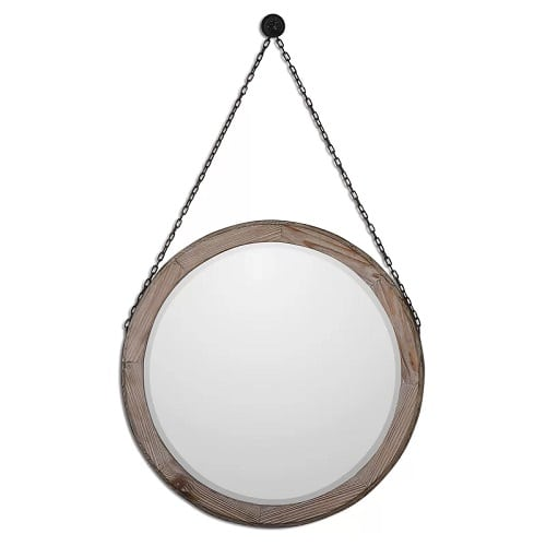 round-wood-wall-mirror-hanging Coastal Mirrors and Beach Themed Mirrors
