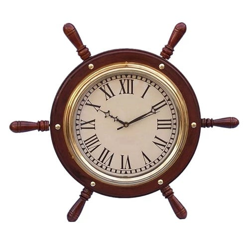 solid-wood-and-brass-ship-wheel-clock-15 Nautical Clocks