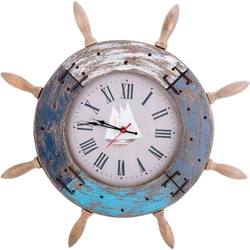 wood-ship-wheel-shape-wall-clock-18.5 Nautical Clocks