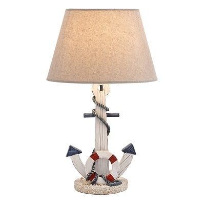 deco-79-white-anchor-table-lamp Nautical Themed Lamps