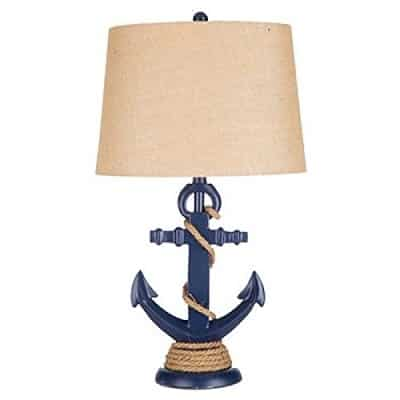 navy-blue-anchor-rope-resin-table-lamp Nautical Themed Lamps