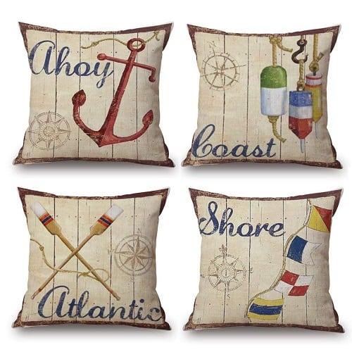 ahoy-boats-sail-nautical-pillows 100+ Nautical Pillows & Nautical Pillow Covers