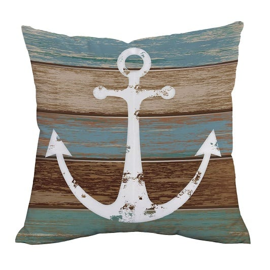 anchor-rustic-wood-throw-pillow 100+ Nautical Pillows & Nautical Pillow Covers