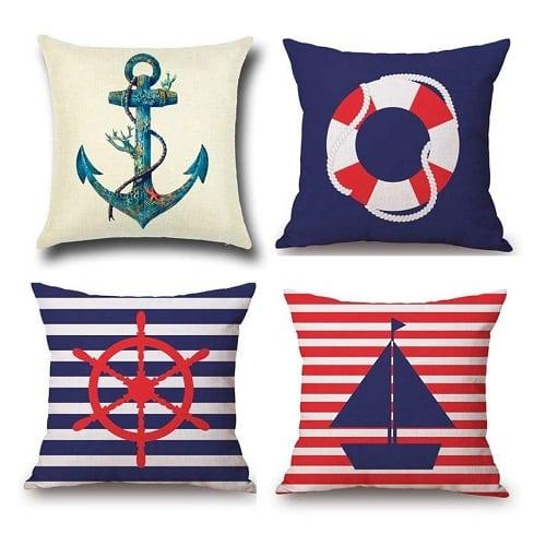 nautical-throw-pillows-anchor-sailing-stripes-life-preserver 100+ Nautical Pillows & Nautical Pillow Covers
