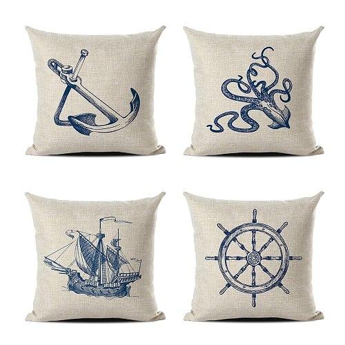 restro-classic-stylish-nautical-throw-pillows-4-count 100+ Nautical Pillows & Nautical Pillow Covers