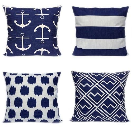 set-of-4-nautical-navy-throw-pillows Nautical Pillows and Nautical Throw Pillows