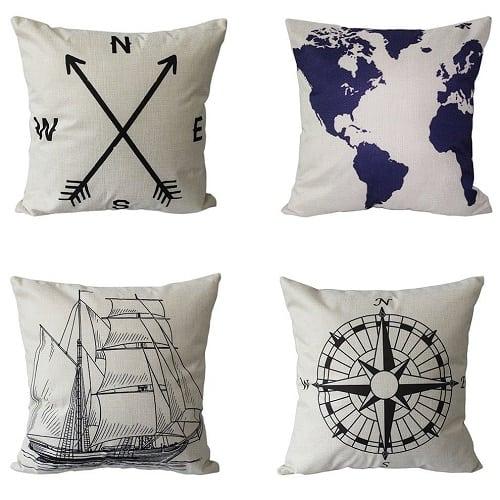set-of-4-nautical-white-throw-pillows Nautical Pillows and Nautical Throw Pillows
