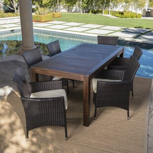 AppelOutdoor7PieceDiningSetwithCushions Wicker Dining Tables & Wicker Patio Dining Sets