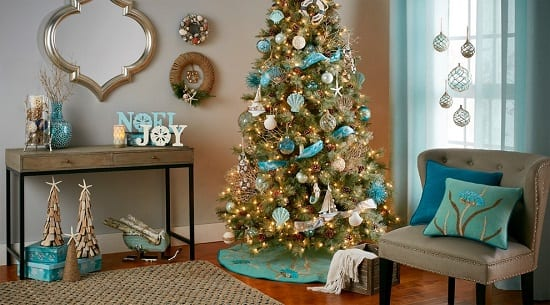 Beach-Style-Christmas-by-At-Home 25+ Beach Christmas Tree Ideas