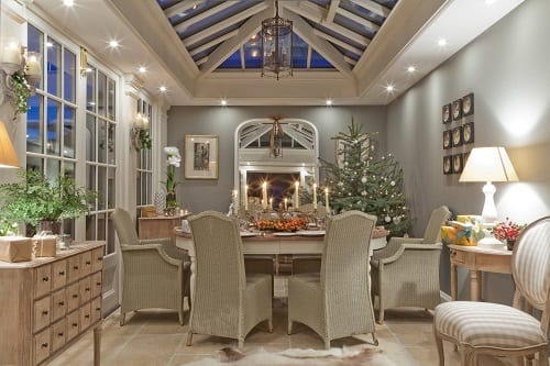 Christmas-In-A-Conservatory-by-Vale-Garden-Houses 34 Beach Christmas Decorating Ideas For 2020