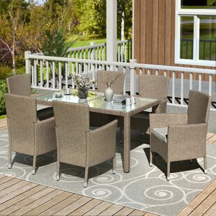 Deserie7PieceDiningSetwithCushions Wicker Dining Tables & Wicker Patio Dining Sets