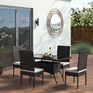 Leedom5PieceDiningSetwithCushions Wicker Dining Tables & Wicker Patio Dining Sets