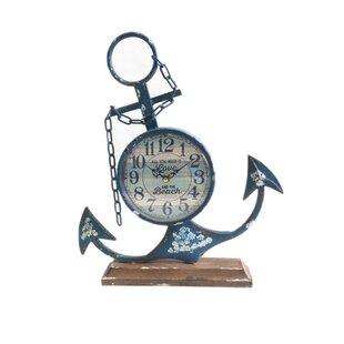 MetalAnchorTabletopClock Nautical Themed Clocks