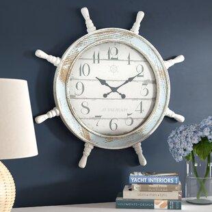 OversizedDistressedNauticalAnchor1522WallClock Nautical Themed Clocks
