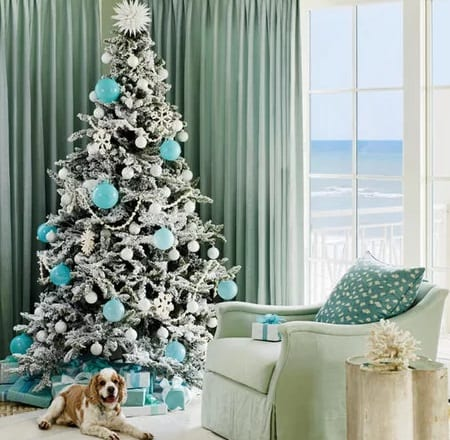 Seaglass-Inspired-Stunner-Photo-by-Annie-Schlechter-Styling-by-Lindsey-Ellis-Beatty 25+ Beach Christmas Tree Ideas