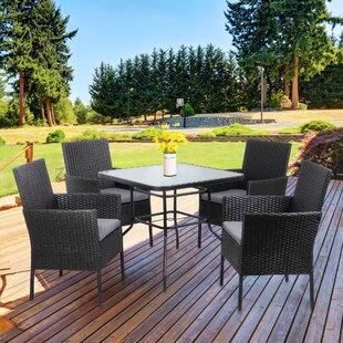 Swanmore5PieceDiningSetwithCushions Wicker Dining Tables & Wicker Patio Dining Sets