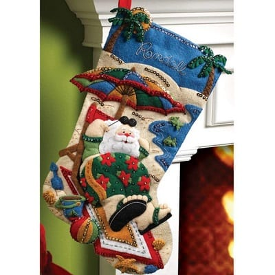 beach-santa-christmas-stocking 100+ Beach Themed Christmas Stockings For 2020