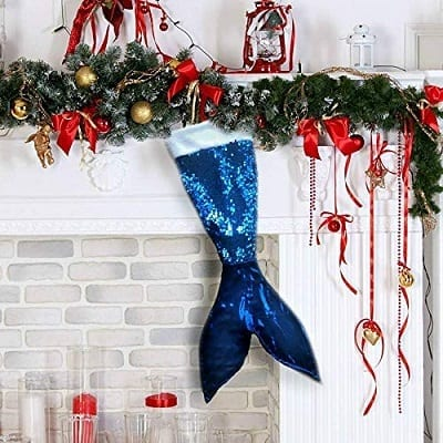 blue-mermaid-tail-christmas-stocking 100+ Beach Themed Christmas Stockings For 2020