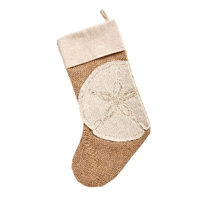 burlap-sand-dollar-christmas-stocking 100+ Beach Themed Christmas Stockings For 2020