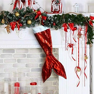 red-mermaid-tail-christmas-stocking 100+ Beach Themed Christmas Stockings For 2020