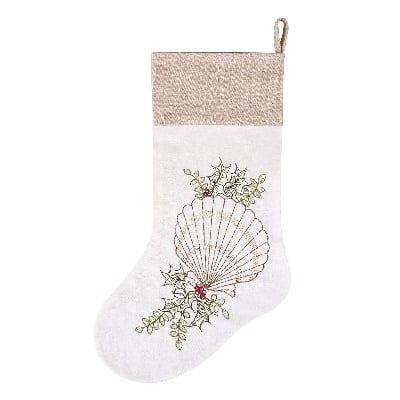 scallop-shell-christmas-stocking 100+ Beach Themed Christmas Stockings For 2020