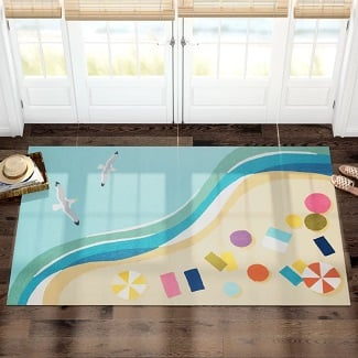 Bodnar-Abstract-Hand-Hooked-Blue-Indoor-Outdoor-Area-Rug Beach Rugs and Beach Area Rugs