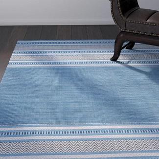 Bokara-Hills-Striped-Handmade-Flatweave-Cotton-Blue-Grey-Area-Rug Beach Rugs & Beach Area Rugs