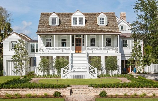 Classic-Island-Beach-Cottage-Exterior-Elevated-by-Sea-Island-Builders-LLC 50+ Coastal Cottages We Love
