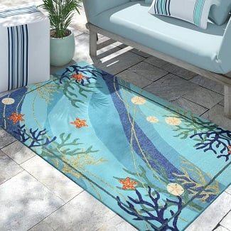 Coeymans-Floral-Hand-Looped-Blue-Area-Rug Beach Rugs & Beach Area Rugs