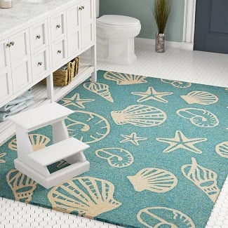 Monticello-Handmade-Looped-Hooked-Turquoise-Area-Rug Beach Rugs and Beach Area Rugs