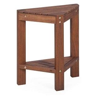 belham-living-corner-teak-shower-bench-with-shelf Teak Shower Benches For Sale