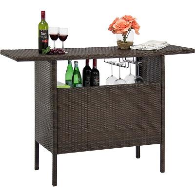 best-choice-products-wicker-bar-counter-table Tiki Bar Ideas & Tiki Bar Decorations